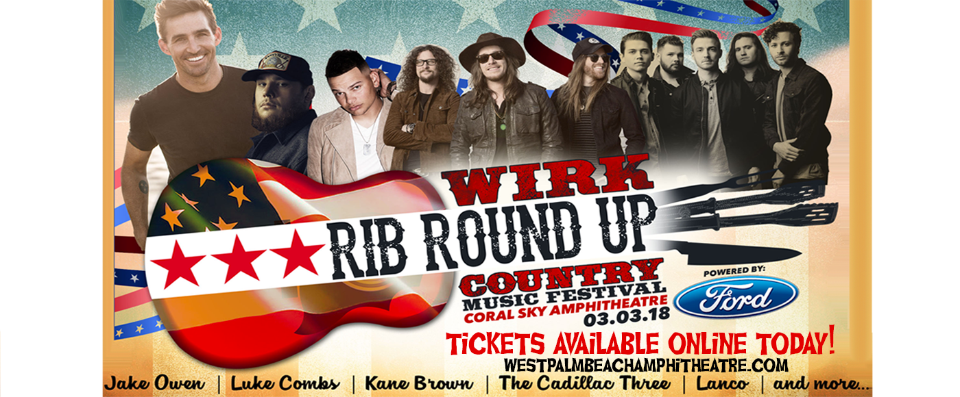 WIRK's Rib Roundup Country Music Festival: Jake Owen, Luke Combs, Kane Brown & The Cadillac Three at Perfect Vodka Amphitheatre