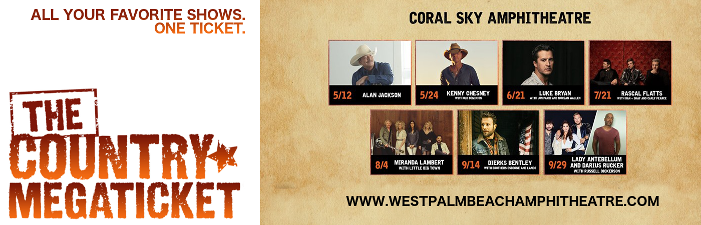 2018 Country Megaticket Tickets (Includes All Performances) at Coral Sky Amphitheatre