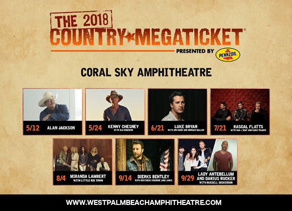 2019 Country Megaticket Tickets (Includes All Performances) at Coral Sky Amphitheatre